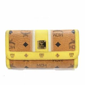 MCM Cognac Studded Yellow Long Bifold Wallet